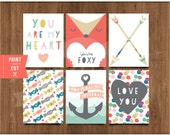 "3""x 4"" Printable Valentine Notes by Studio Pebbles"