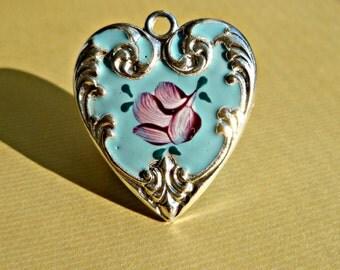 New Custom Enameled 24mm x 27mm Light Blue and Silver Heart Pendant (16-7F-1)
