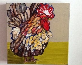 Multicolored Rooster Original Painting Collage