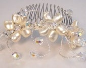 Floral hair comb, Flower hair jewelry, ivory cream petal pearls, clear ab crystals, spray, sterling silver, bridal hair jewelry, head piece
