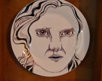 Hand painted Plate , lady art, original illustration on a plate, weird home decor, Odd art, fun art, ceramic plate, by Sandy Mastroni