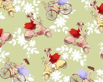 Ciao Bella by Another Point of View for Windham Fabrics, Italian  Vespa's on Green,  LAST 35 Inche