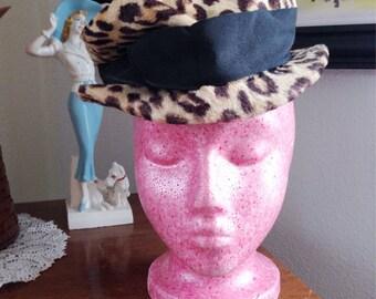 Vintage 1950s Hat leopard bowler Old Hollywood 1960s