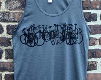 Bike Stack  Bicycle Art Tank Top -  Black on Gray