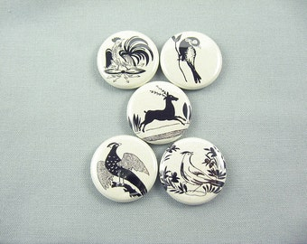 Five German Folk Art Animals Fridge Magnets Pins or Wine Charms : black neutral  /1254