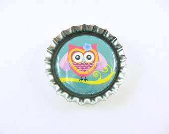 Pink and Green Cute Owl Bottle Cap Magnet for your fridge
