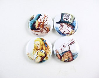 Alice in Wonderland Fridge Magnets, Pin back Buttons, Wine Charms, magnet set, fairy tale magnets