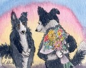 Border Collie dog flowers 8x10 print flowers for you bouquet thank you present gift presentation bunch of flowers just for you