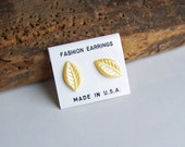 Etsy, Etsy Jewelry, Vintage Earrings, Vintage Jewelry, Yellow Earrings, Post Earrings, Leaf Earrings, Tiny Earrings