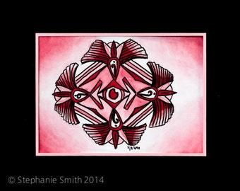 Mandala: Early Original Watercolor Art Painting - Rose Madder