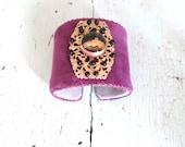 Vintage Violet Velvet Horse Cuff