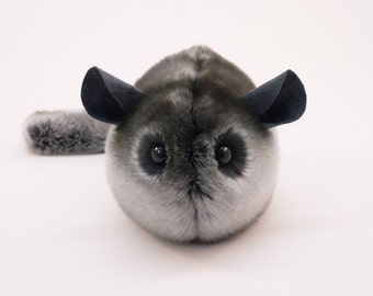 Stuffed Chinchilla Stuffed Animal Cute Plush Toy Chinchilla Kawaii Plushie Smokey the Dark Grey Chinchilla Cuddly Faux Fur Large 6x10 Inches