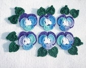 6 purple and ocean crochet applique pansies with leaves  --  472