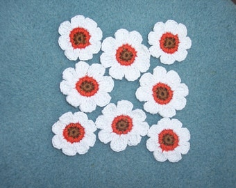8 handmade cotton thread crochet applique flowers --  802