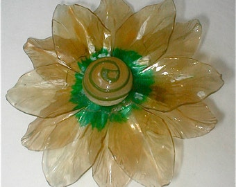 Palest Yellow Celluloid Flower Brooch - Vintage  Pin 1940s