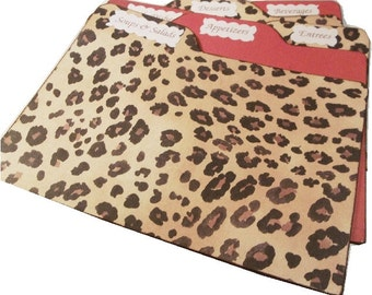 Recipe Tab Dividers STURDY (Set of 6) Cheetah Print  3 x 5 or 4 x 6 MADE To ORDER