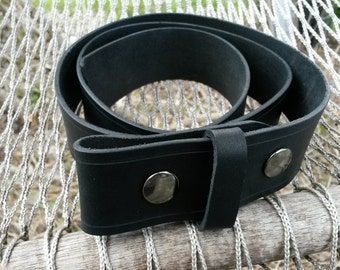 Black Leather Belt for Snap Buckles