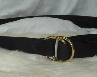 Double Ring Black Leather Belt Men or Ladies Black Latigo Leather Belt Handmade