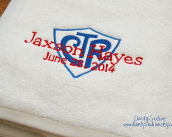 CTR Baptism Towel - Red and Blue - LDS gift - Personalized Towel
