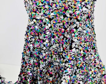 """Sequins sewn on Stretch black  mesh with Multi-colored  sequins 52"""" sold by the yard ,  formal Pageant Dance, prom, party"""