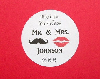 MUSTACHE and RED LIPS Favor Stickers - Wedding Reception - Bridal Shower - Labels - You Choose the Size