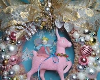 Vintage Pink Reindeer Christmas Wreath with Tiny Vintage Pink Angel ...Handmade and OOak