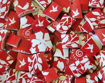 Mosaic Tiles---Red--Birds on Tree Branches--60 Tiles