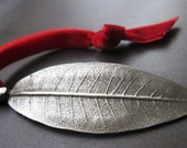 Custom Fine Pewter Leaf Ornament - Personalized