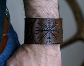 Leather Wristband Celtic-Runic Helm of Awe Leather Wristband-TYR Leather Wristband-Leather Wristbands-Rune Runes Runestone Leather Cuff