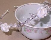 Bridal Wedding Tiara Headband Pearls Floral Design Swarovski Crystals Flower Girl Gold Silver
