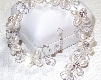 Bridal Hair Vine Freshwater Pearls Floral Design Rhinestones Swarovski Crystals Wedding Hairvine Convertible