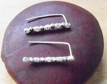 Sterling Silver Ear Cuff, Constellations ear cuff, Crystal Rhinestone Black n White, Delicate Ear Cuffs, Cartilage ear cuff, Ear climber