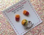 Burger and Fries adjustable ring set with clip on or surgical steel post earrings YOU CHOOSE