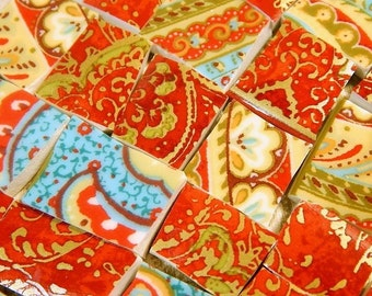 China Mosaic Tiles - TuRQuOiSE RED GoLD - Broken Plate Mosaic Tiles