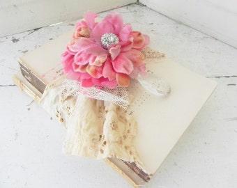 Old Book Bundle Embellished w/ Vintage Pink Velvet Flower Prism Perfect for Shabby Elegant Decor