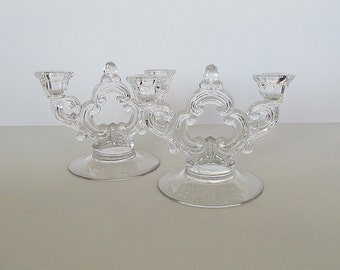 Vintage Keyhole Candle Holders, Double Candle Holders, Clear Glass Candle Holders