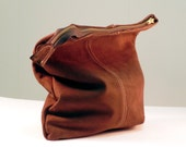 Foldover Leather Clutch. Urban Cowgirl - Western Style. Brown Nubuck Leather Clutch Purse.