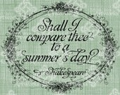 Digital Download Shall I compare thee to a summer's day? Quote Typography digi stamp Verse Digital Transfer, Valentines Day Wedding