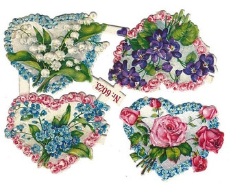 Antique German Paper Scrap Die Cut Floral Bouquets In Hearts 10 pieces Mint Condition