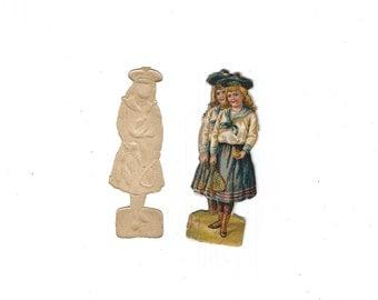 "Vintage German Die Cut Paper Scrap ""Sailor"" Girl Holding Racquet & Ball Set of 5 Pieces Late 1800s Mint Condition"