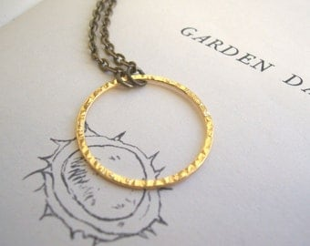 Gold Bubble necklace - simple gold circle with hammered texture