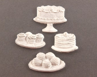 cake macaroon cupcakes resin embellishments - Set of 4 - Scrapbooking, Altered Art - The Sweet Life Jenny Holiday