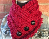 Knit Cables Button Fisherman's Wife Neck-Warmer Holly Red Santa Red Scarf Cowl
