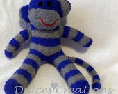 Frankie the sock monkey ready to ship blue and grey