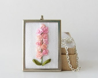 Pink hollyhocks necklace, larkspur necklace, silk ribbon embroidery, embroidered jewelry, Mother's Day gift, botanical necklace
