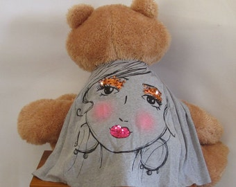 Child Cape or Apron: Fancy Face Handmade by Fashion Green T Bags