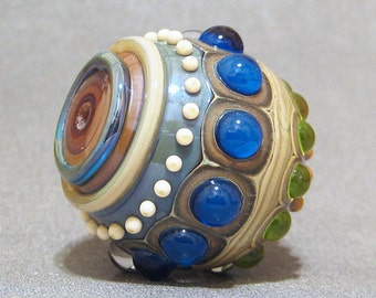 Focal Lampwork Bead, Handmade Round Blue & Green Glass Focal Bead AKDesigns Water Goddess Orb