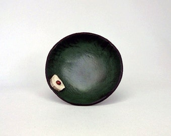 Green mini leather blessing bowl with antler and bead accent No. 2713