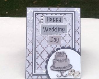 Black and Silver Wedding Card, Silver Wedding Cake, Happy Wedding Day Handmade Greeting Card