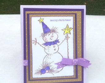 Christmas Card Set, Snowman Holiday Cards, Purple and Gold, Merry Christmas Stationery, Boxed Note Cards